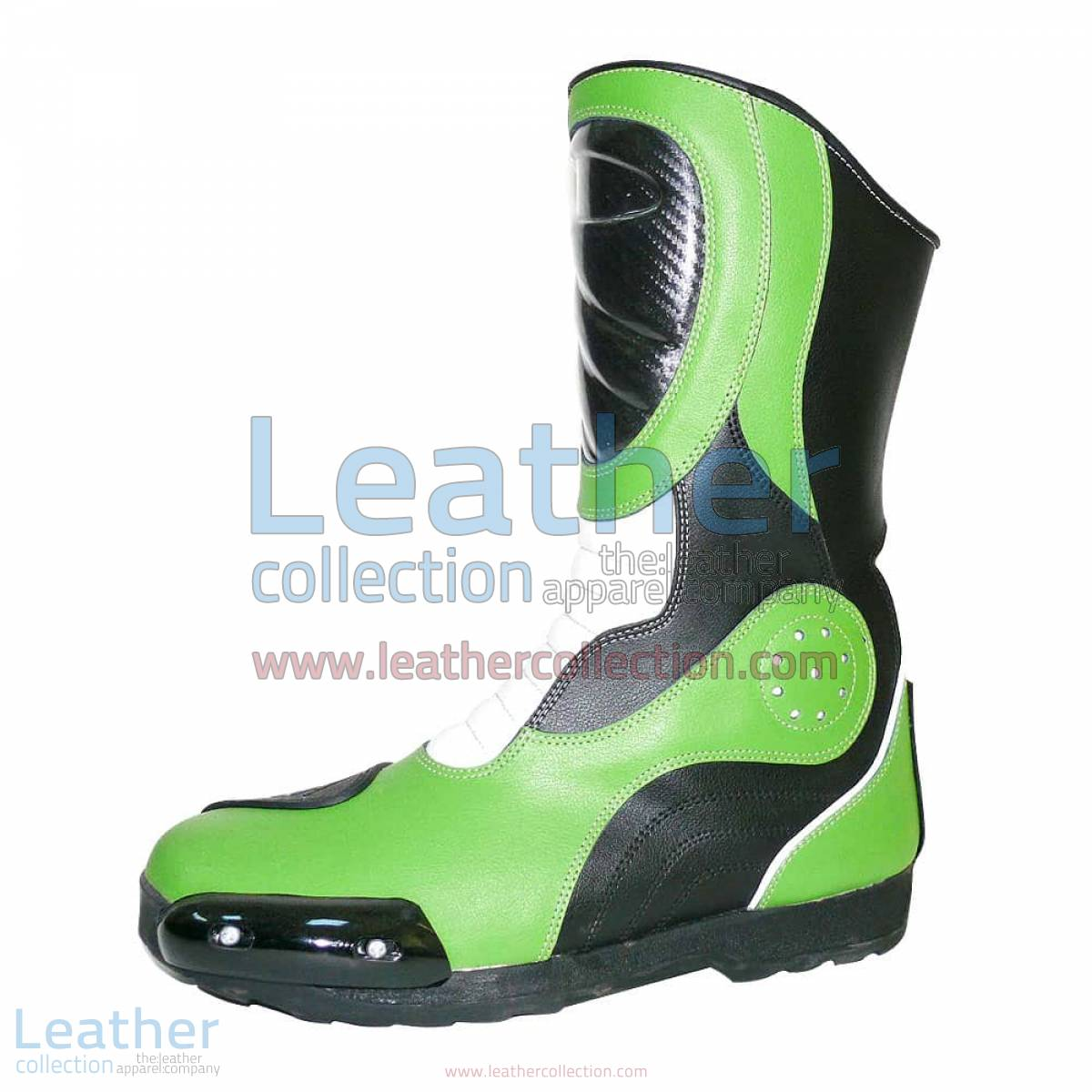 Bravo Green Leather Biker Boots | Leather biker boots