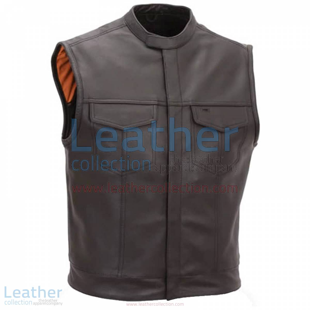 Brown Motorcycle Vest with Scooter Collar | brown motorcycle vest