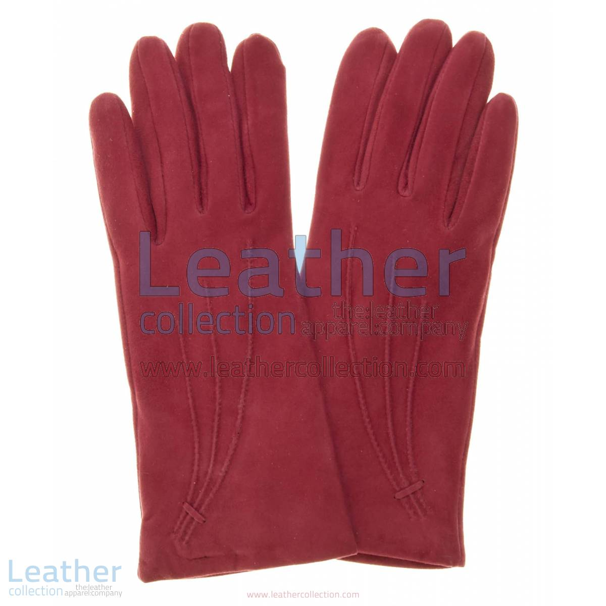 Ladies Claret Cashmere Lined Suede Gloves | suede gloves