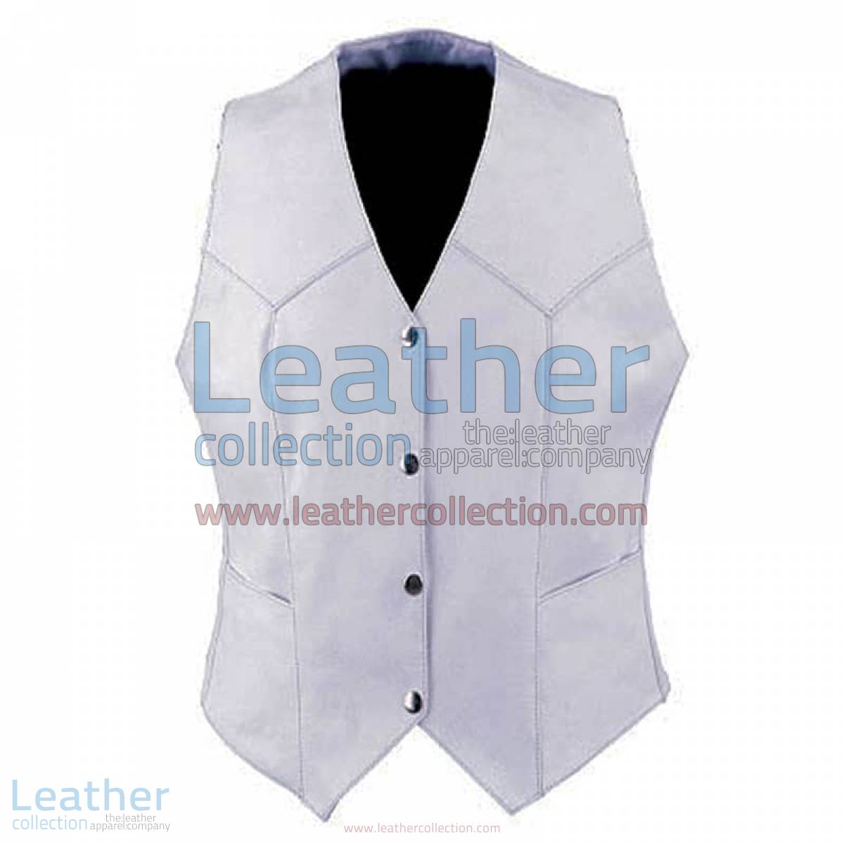 Ladies Vintage White Fashion Leather Vest