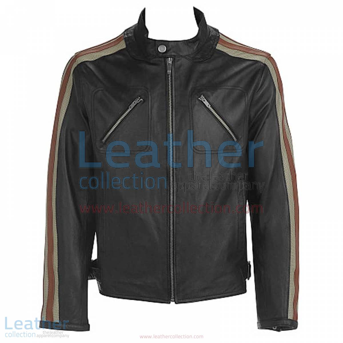 Leather Jacket With Stripes on Sleeves | leather jacket with stripes