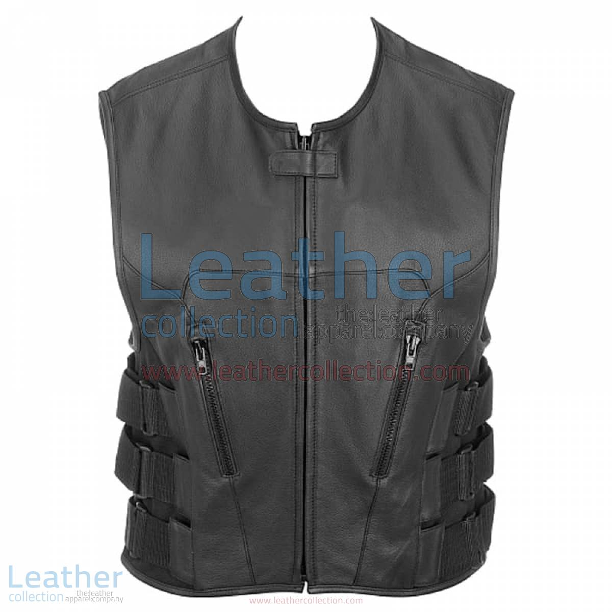 Leather Rider Vest with Velcro Side Straps | rider vest