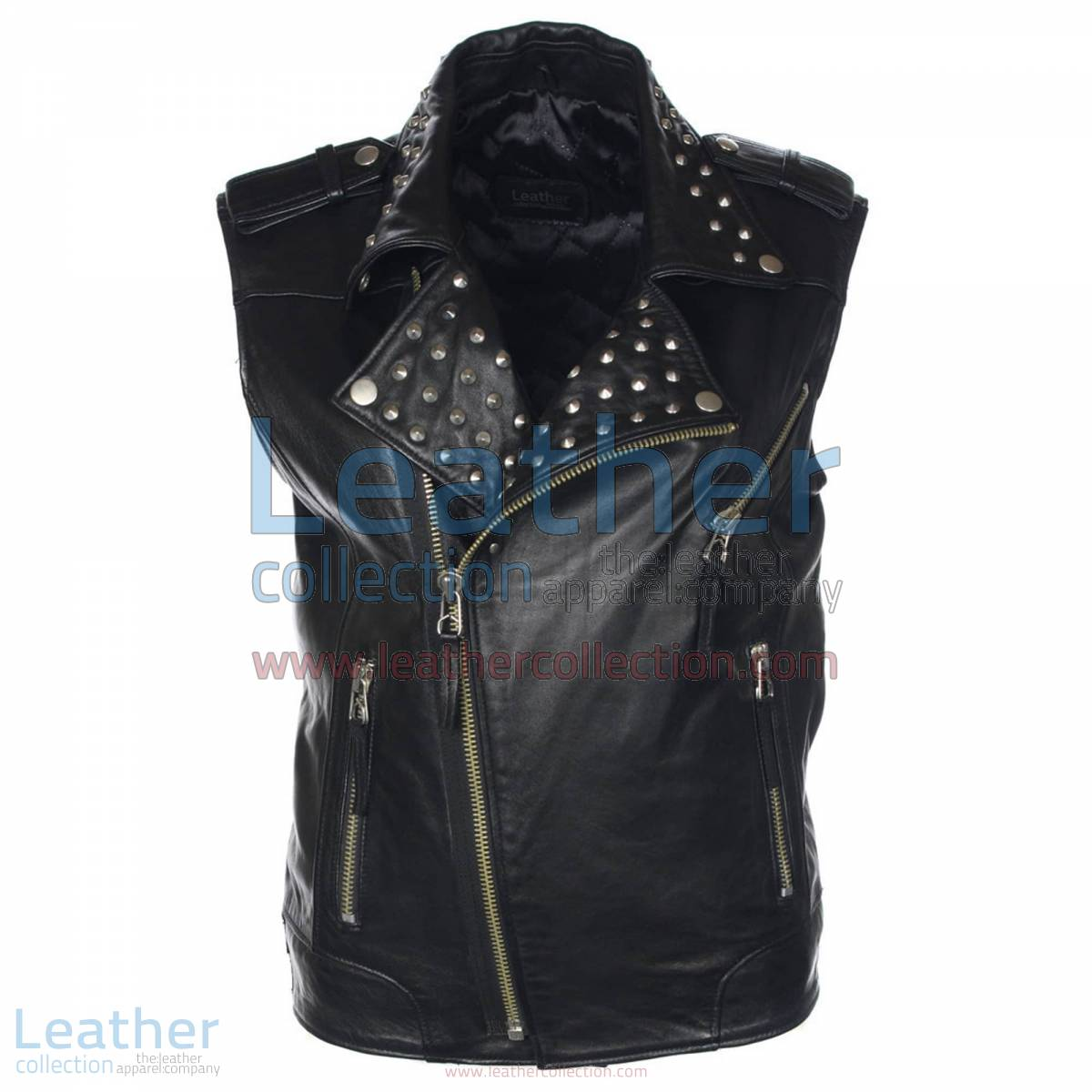 Men Studded Collar Biker Leather Vest | studded vest