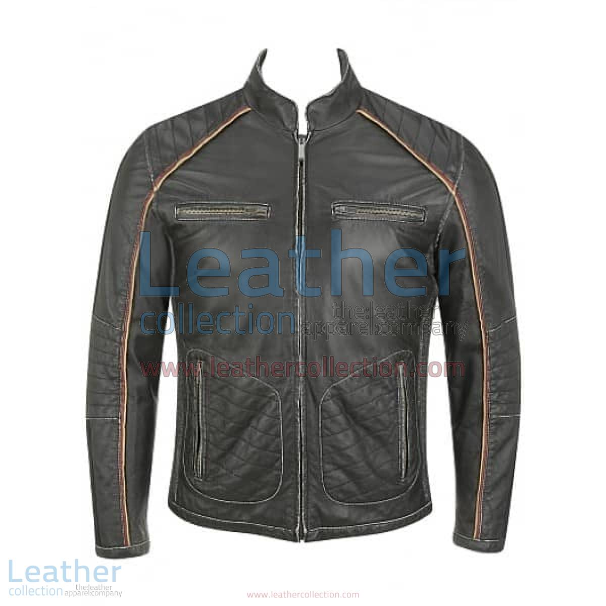 Semi Motorbike Casual Leather Piping Jacket | piping jacket
