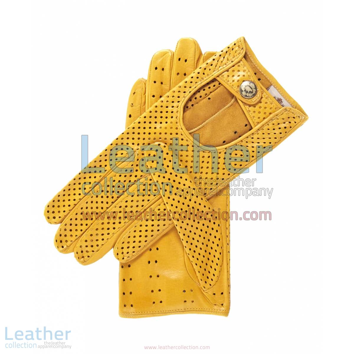 Ventilated Yellow Driving Gloves Ladies | yellow driving gloves