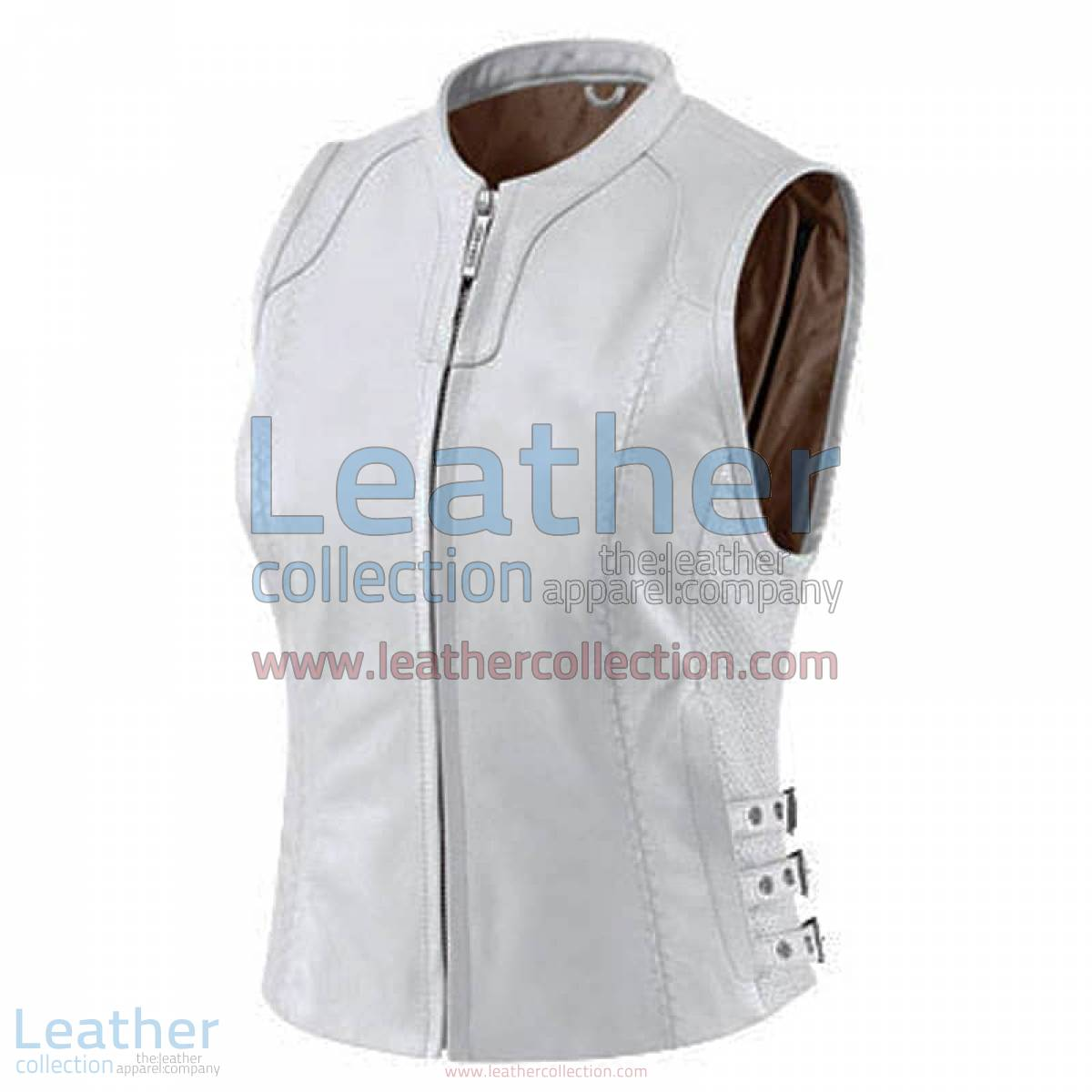Womens White Classic Leather Vest | white leather vest