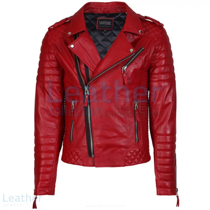 Quilted Leather Motorcycle Jacket Front View