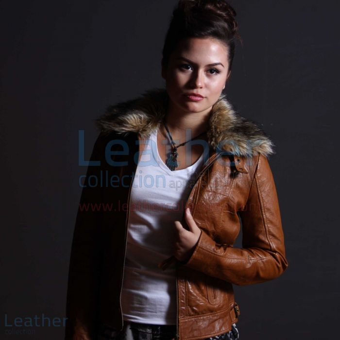 Billy Leather jacket Women open front view