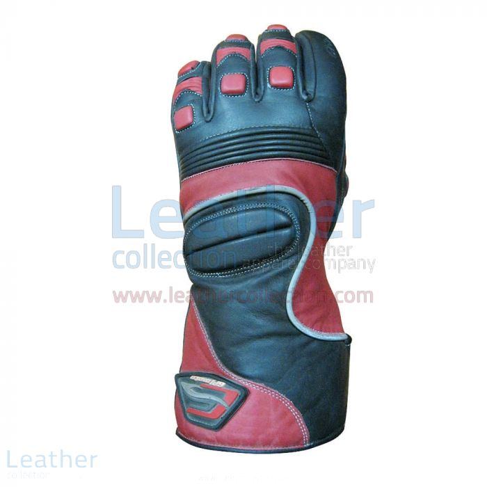 Crescent Motorcycle Leather Gloves upper view